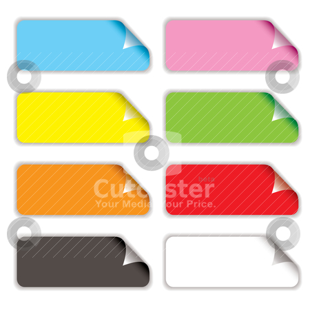 Badge curl shadow stock vector clipart, Collection of eight oblong stickers with page curl in different colours by Michael Travers
