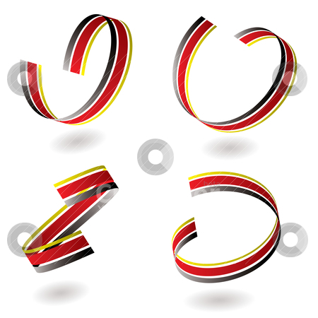 Ribbon swirl gradient stock vector clipart, Swirling ribbon in red and black with drop shadow by Michael Travers