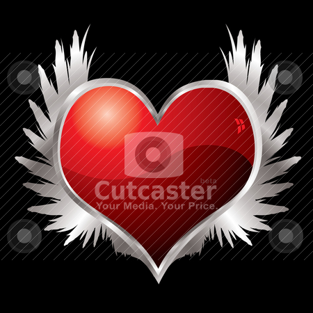 Love heart wings stock vector clipart, Red love heart with a silver bevel and metal wings by Michael Travers