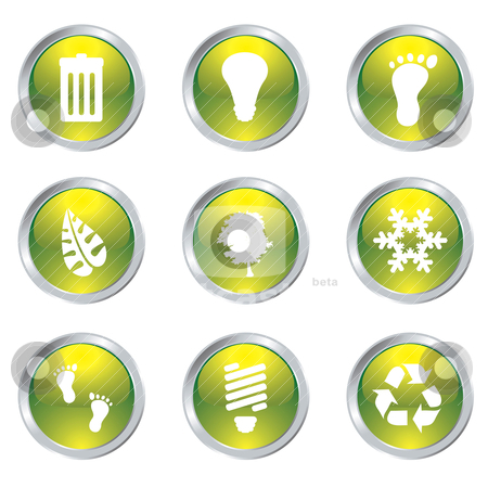 Eco gel icons stock vector clipart, Ecology set of nine icons with silver bevel in green by Michael Travers