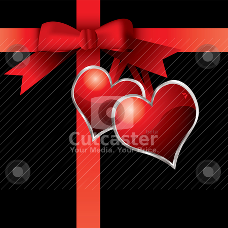 Valentine present stock vector clipart, Gift wrapped valentines day with ribbon and love hearts by Michael Travers