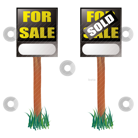 For sale sign stock vector clipart, For sale sign with sold label placed on top with grass by Michael Travers