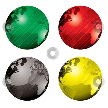 Gel globe variation stock vector clipart, Collection of four globes with colour variation and reflection by Michael Travers