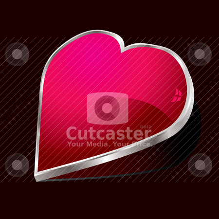 Heart bevel silver stock vector clipart, Silver surround heart shape with a drop shadow by Michael Travers
