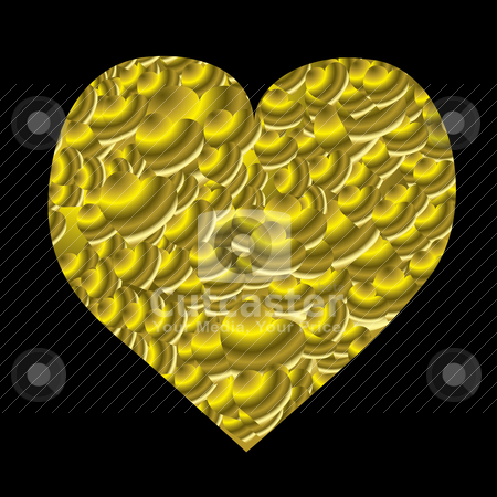 love heart black background. Gold love hearts with a lack
