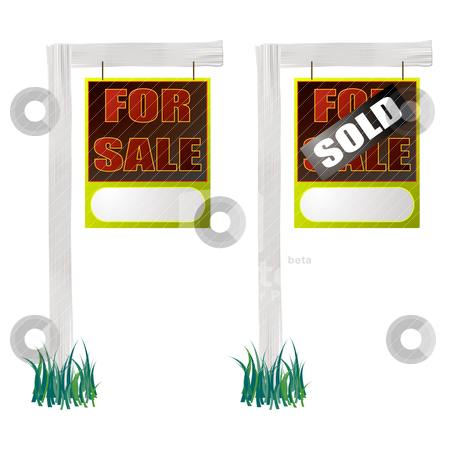 For sale sign hang stock vector clipart, For sale and sold sign with white wood and grass by Michael Travers