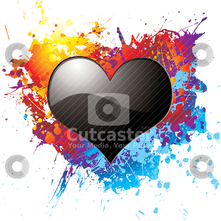 Dark love stock vector clipart, Black heart on a colorful ink splat illustrated background by Michael Travers