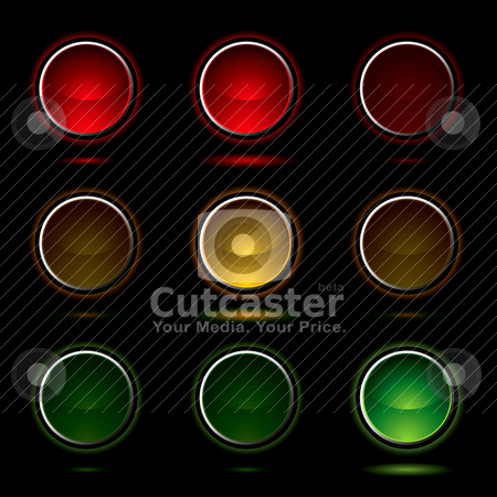Traffic light buttons stock vector clipart, Traffic light sequence with drop shadow and silver bevel by Michael Travers