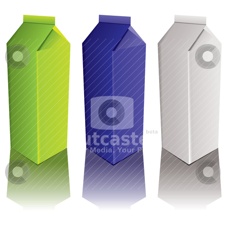 Carton variation stock vector clipart, Drinks carton with three colour variations and drop shadow by Michael Travers