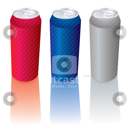 Can collection stock vector clipart, Collection of three soda cans with reflection and pull top by Michael Travers
