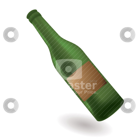 Green glass bottle stock vector clipart, Green glass bottle with blank label with shadow by Michael Travers