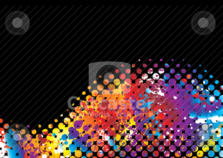 Halftone rainbow wave stock vector clipart, Brightly coloured halftone wave background with rainbow effect by Michael Travers