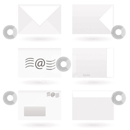 Envelopes stock vector clipart, Collection of six envelope icons with drop shadow by Michael Travers
