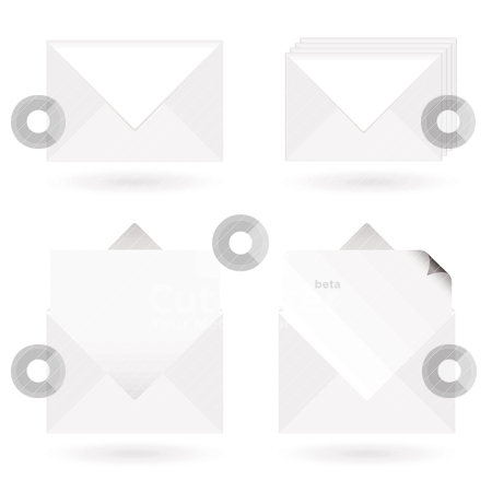 Envelopes open stock vector clipart, White envelopes with shadow with letter and page curl by Michael Travers