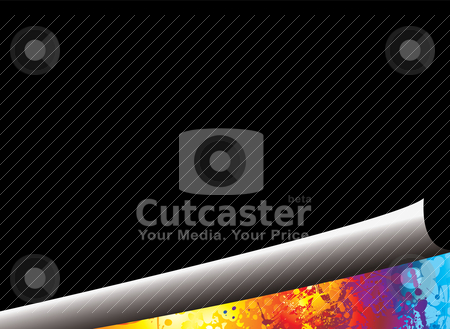 Curl rip rainbow stock vector clipart, Rainbow background with black page and paper curl by Michael Travers