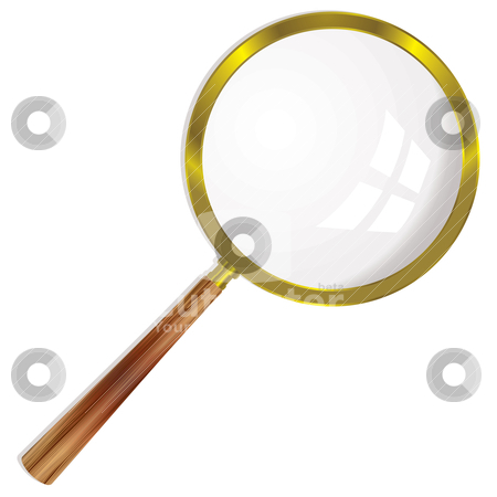 Magnifying glass single stock vector clipart, Gold magnifying glass with wooden handle and drop shadow by Michael Travers
