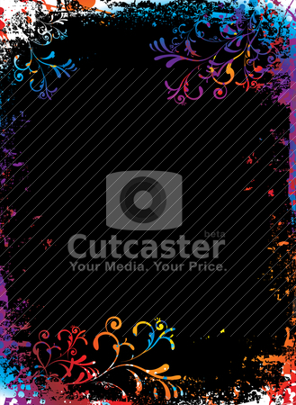 Hazy rainbow border stock vector clipart, Rainbow grunge floral background with to add your own copy by Michael Travers