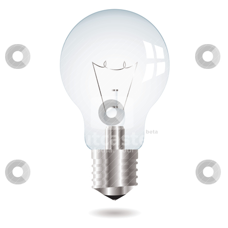 Light bulb stock vector clipart, Illustration white old fashioned lightbulb with drop shadow by Michael Travers