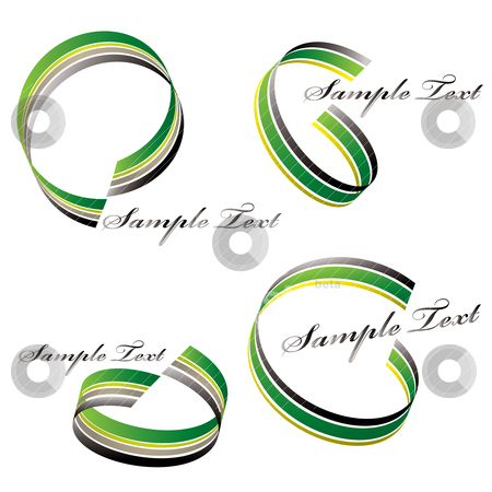 Ribbon green swirl stock vector clipart, Fluid ribbon flowing in a circular design in green and black by Michael Travers