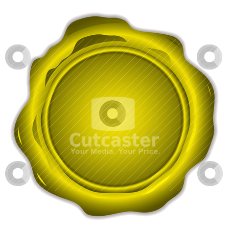 Gold wax seal round stock vector clipart, Round shapped wax seal with copy space and shadow by Michael Travers