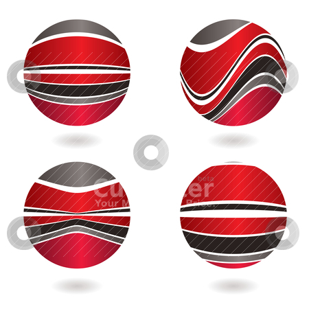 Marble swirl red stock vector clipart, Circular abstract red and gray design with drop shadow by Michael Travers