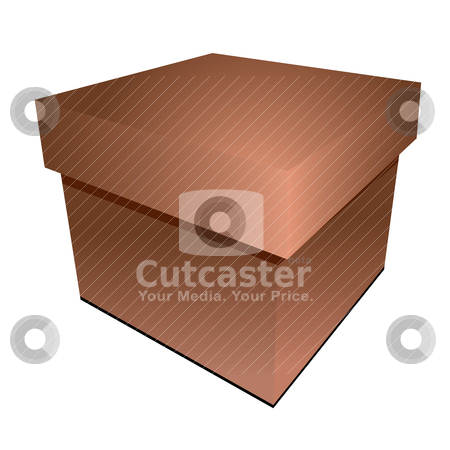 Cardboard box stock vector clipart, Illustration of a cardboard box with drop shadow in brown by Michael Travers