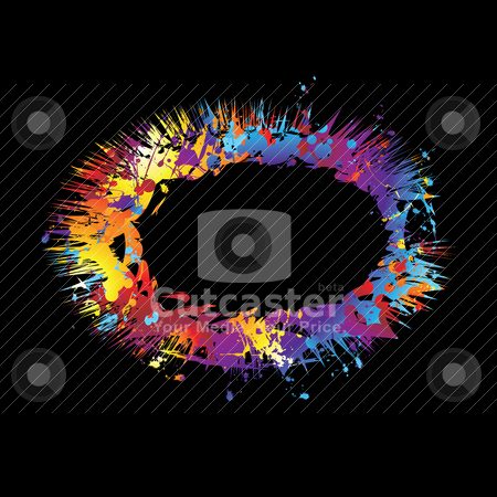 Rainbow ink explode stock vector clipart, Exploding ink splat black background with copy space by Michael Travers