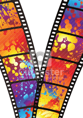 Rainbow zip film stock vector clipart, Bits of film with bright rainbow ink splats by Michael Travers