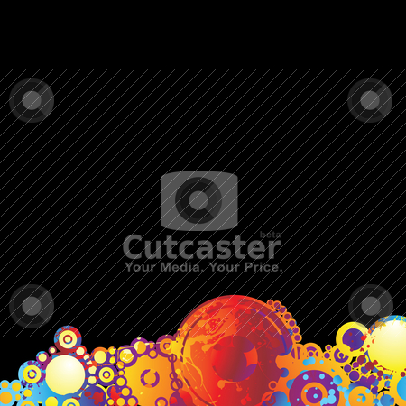 Rainbow circle background stock vector clipart, Abstract bright ink splat background with copy space by Michael Travers