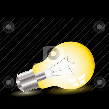 Light bulb lean stock vector clipart, Illustrated light bulb on with bright yellow shadow by Michael Travers