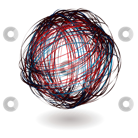 Scribble red ball stock vector clipart, Scribble ball with shadow and red and blue lines by Michael Travers