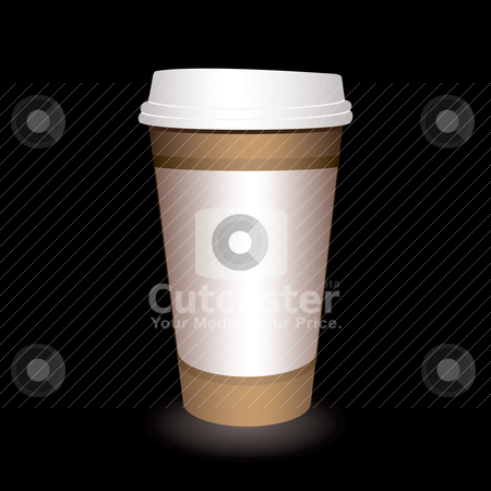Coffee cup stock vector clipart, Paper coffee cup with a black background and shadow by Michael Travers