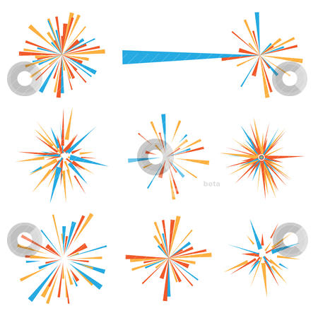 Explode icon stock vector clipart, Exploding brightly colored icon in orange and blue by Michael Travers