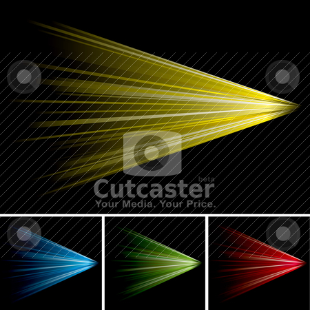 Tunnel rush stock vector clipart, Brightly coloured light shooting into the distance with black background by Michael Travers