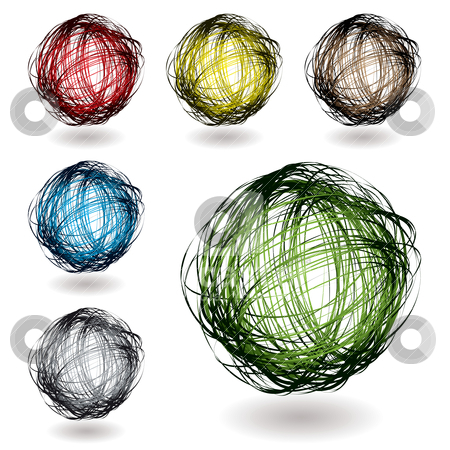 Scribble color variation stock vector clipart, Scribble balls with colour variation with drop shadow by Michael Travers
