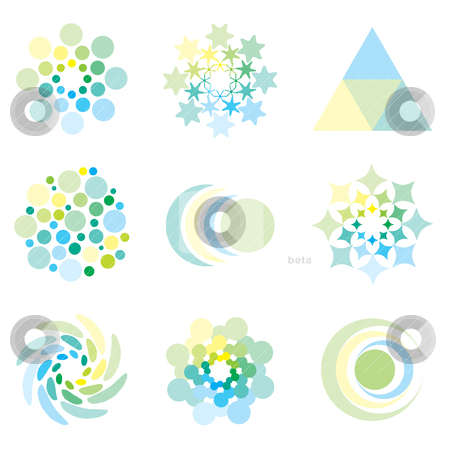Icon design stock vector clipart, Icon design elements in illustrated pale pastel colors by Michael Travers