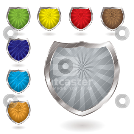 Radiate shield stock vector clipart, Colorful radiating shields with drop shadow and silver bevel by Michael Travers