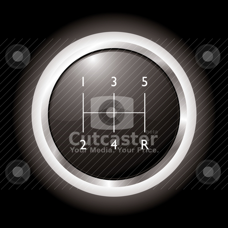 Gear shift stock vector clipart, Black and silver gear shift knob with black background by Michael Travers