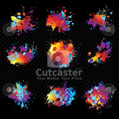 Variation ink spray nine stock vector clipart, Collection of nine brightly coloured ink splat with black background by Michael Travers