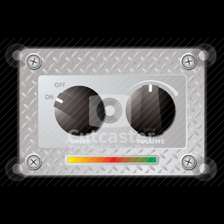 Switch metal panel duo stock vector clipart, Silver metal plate with two plastic knobs with power and volume switch by Michael Travers