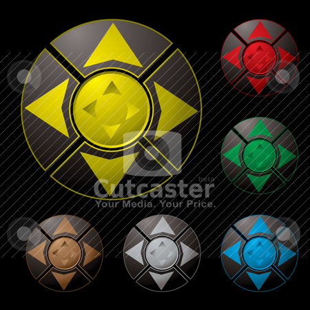 Arrow button variation stock vector clipart, Collection of six bright buttons with arrow direction by Michael Travers