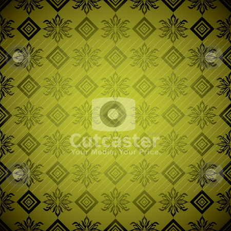 Gold square wallpaper stock vector clipart, Seamless wallpaper design that seamlessly repeats in gold by Michael Travers