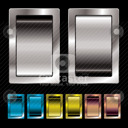 Switch variation stock vector clipart, Silver metal surround switch with colour variation in on and off position by Michael Travers