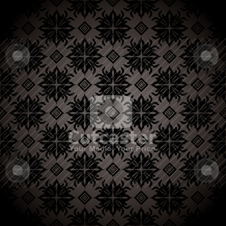 Black tile repeat wallpaper stock vector clipart, Black and gray wallpaper design with seamless repeating design by Michael Travers