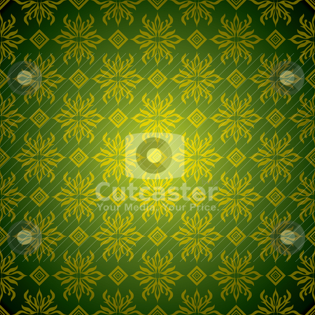 Green wallpaper tile gold stock vector clipart, Green and golden wallpaper background with seamless design by Michael Travers