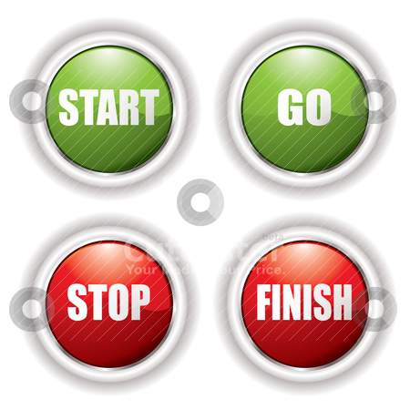 Stop start button stock vector clipart, Stop start buttons in red and green with silver bevel by Michael Travers