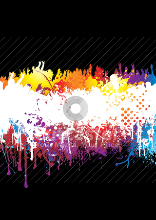 Rainbow splat crowd stock vector clipart, Crowd scene with people hands held high on abstract rainbow background by Michael Travers