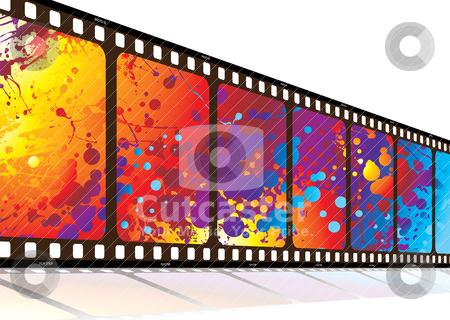 Film along rainbow stock vector clipart, Film in perspective with bright colored rainbow ink splat design by Michael Travers