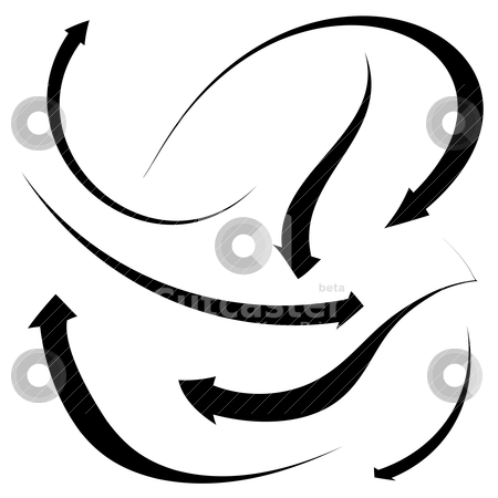 Arrow collection stock vector clipart, Collection of black arrows in various bended positions on a white background by Michael Travers