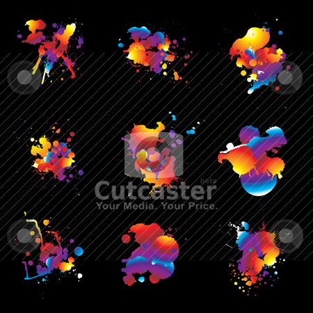 Rainbow splat nine stock vector clipart, Nine ink splat designs with rainbow colours and black background by Michael Travers